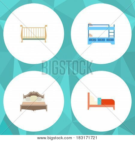 Flat Bed Set Of Bunk Bed, Bedroom, Bearings And Other Vector Objects. Also Includes Crib, Bedroom, Bed Elements.