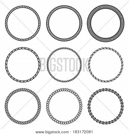 Vector set of round rope frame. Collection of thick and thin circles isolated on the white background consisting of braided cord and string. For decoration and design in nautical style.