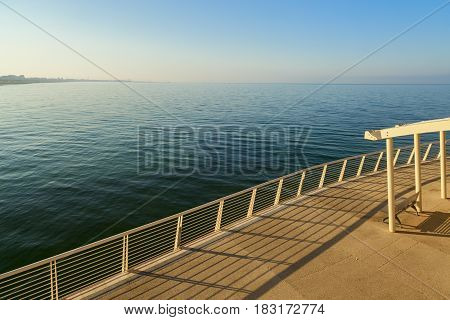 amazing lido di camaiore pier view on the sunrise