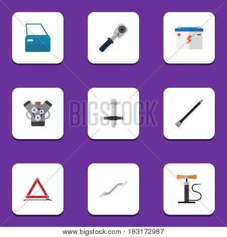 Flat Workshop Set Of Muffler, Automobile Part, Ratchet And Other Vector Objects. Also Includes Emergency, Door, Engine Elements.