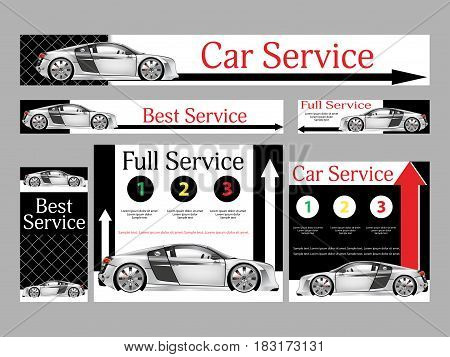 Car repair services. Realistic design. Set banners for the website. Templates standard size. Vector illustration.