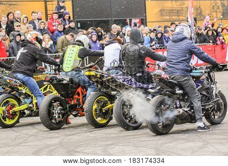 St. Petersburg Russia - 15 April, Bikers before the start,15 April, 2017. International Motor Show IMIS-2017 in Expoforurum. Sports motorcycle show of bikers on the open area.