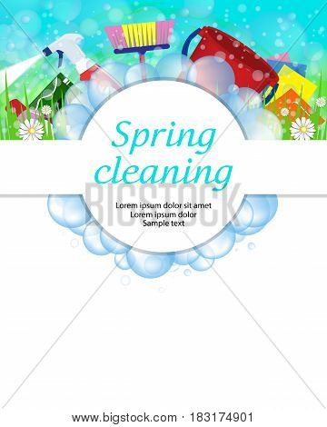 Spring cleaning service concept. Tools for cleanliness and disinfection. Soap bubbles frame. Vector illustration.