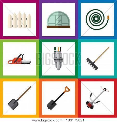 Flat Farm Set Of Spade, Harrow, Wooden Barrier And Other Vector Objects. Also Includes Rake, Lawn, Barrier Elements.