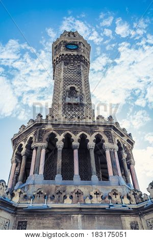 Historical Clock Tower Under Blue Sky, Izmir, Turkey