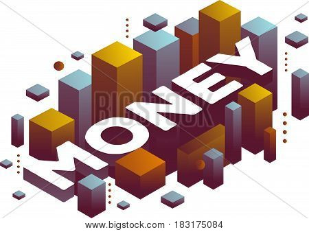 Vector illustration of three dimensional word money with abstract color shapes on white background. Payment technology concept. 3d style design for web, site, banner, presentation