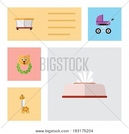 Flat Child Set Of Toy, Playground, Tissue And Other Vector Objects. Also Includes Tissue, Giraffe, Stroller Elements.