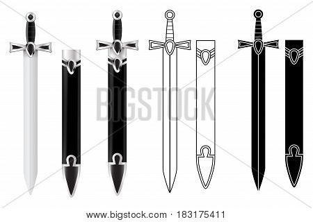 Sword with scabbard. Flat outline image and 3d illustration. Vector isolated on white background