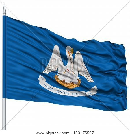 Isolated Louisiana Flag on Flagpole, USA state, Flying in the Wind, Isolated on White Background