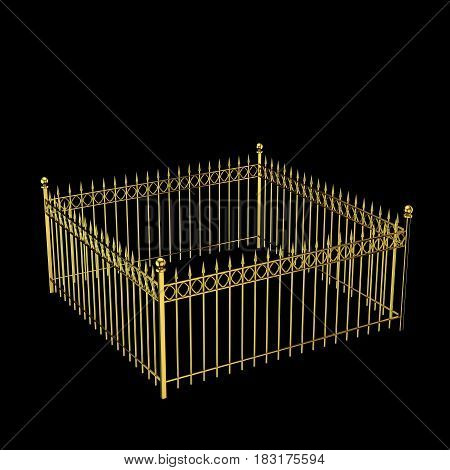 Closed metal fence. Isolated on black background. 3D rendering illustration.