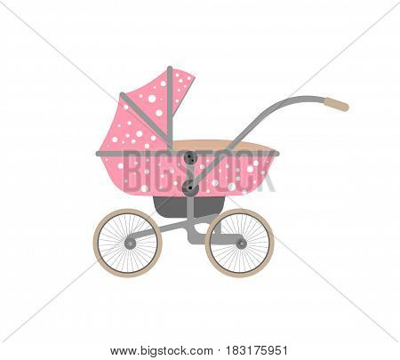Pink baby carriage with polka dots isolated on white background. Vector illustration.