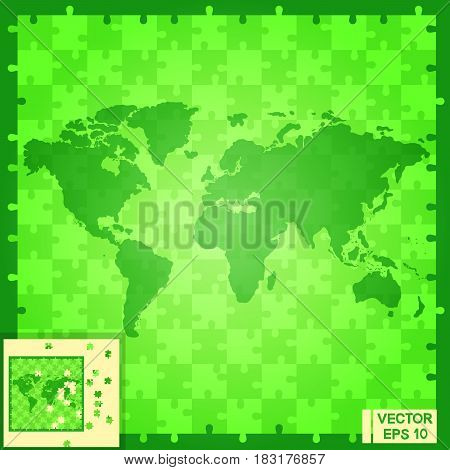 World Map Puzzle Green