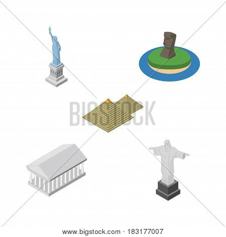 Isometric Attraction Set Of New York, Rio, Athens And Other Vector Objects. Also Includes MoAI, Christ, Pyramids Elements.