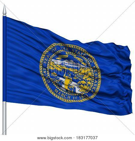 Isolated Nebraska Flag on Flagpole, USA state, Flying in the Wind, Isolated on White Background