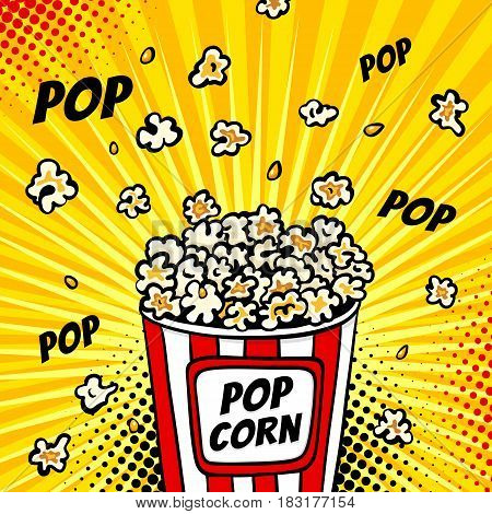 Pop Art Fast Food In The Cinema. Colorful Background With Popcorn Popping Out Of The Box. Vector Ill