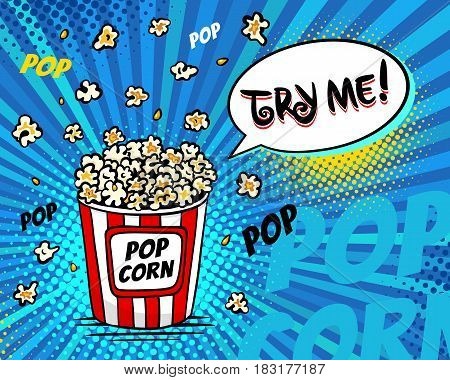 Pop Art Fast Food In The Cinema. Bright Background With Popcorn Popping Out Of The Box And Try Me Sp
