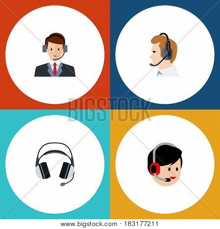 Flat Telemarketing Set Of Operator, Hotline, Earphone And Other Vector Objects. Also Includes Hotline, Online, Telemarketing Elements.