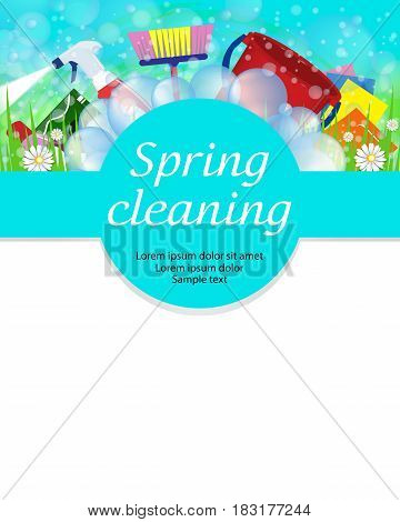 Spring cleaning service concept. Tools for cleanliness and disinfection. Vector illustration.