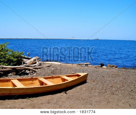 Wooden Boat On Lake Erie