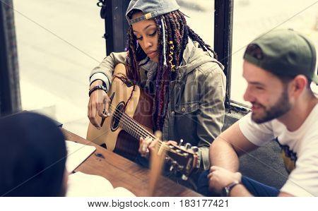 Woman Play Guitar Write Song Music Rehearsal