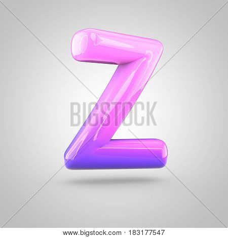 Glossy Pink And Violet Gradient Paint Alphabet Letter Z Uppercase Isolated On White Background