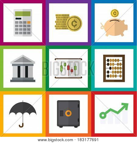Flat Gain Set Of Calculate, Bank, Counter And Other Vector Objects. Also Includes Safe, Abacus, Diagram Elements.