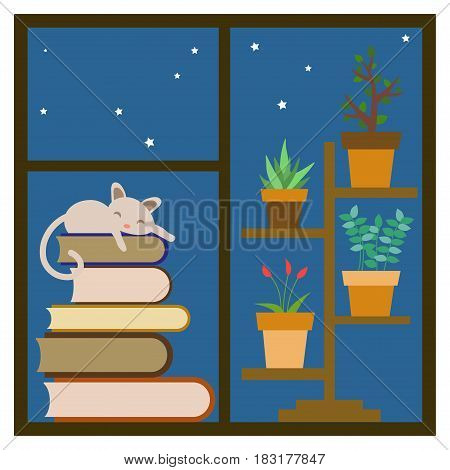 cat sleeping on a stack of books on the window near houseplants.Vector illustration