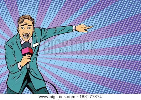 frightened TV reporter, crime reporting or disaster. Pop art retro vector illustration