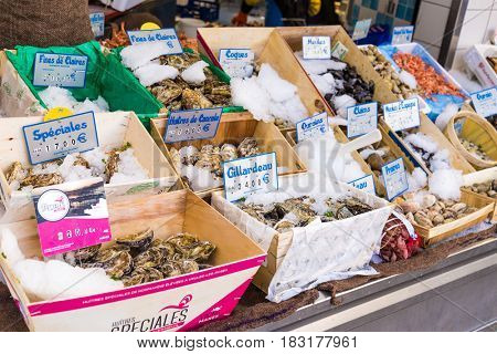 Paris, France, March 26, 2017: Fish and seafood at Paris street shop