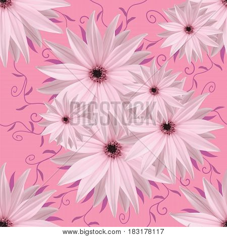 Seamless infinite background floral.. White-pink flowers. For design and printing. Background of natural flowers. Wall-papers.
