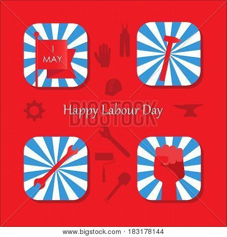 May 1 International Happy Labour Day with tools