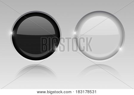Round glass buttons. Embedded black and white push buttons. Vector 3d illustration