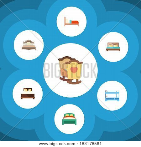 Flat Mattress Set Of Hostel, Mattress, Bunk Bed And Other Vector Objects. Also Includes Bedding, Mattress, Hostel Elements.
