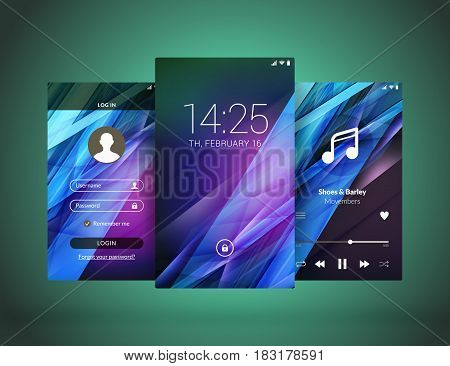 Mobile Interface Wallpaper Design. Set Of Abstract Vector Backgrounds. Modern Smartphone Application