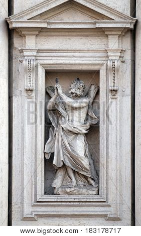 ROME, ITALY - SEPTEMBER 01: Saint Andrew the Apostle statue on the portal of Sant Andrea della Valle Church in Rome, Italy on September 01, 2016.