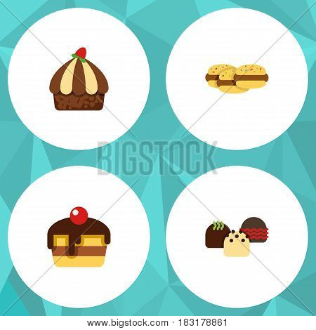 Flat Cake Set Of Biscuit, Cake, Cupcake And Other Vector Objects. Also Includes Shortcake, Pastry, Dessert Elements.