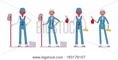 Set of male and female smiling young janitor in a blue suit, standing, holding cotton string rag mop, spray bottle, ready for cleaning, home and office service, isolated on white background