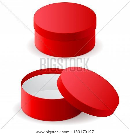 Red round box. Vector illlustration isolated on white background