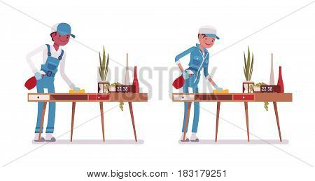 Set of male and female smiling young janitor in a blue suit, dusting the desk, polishing with spray, professional home and office service, isolated on white background