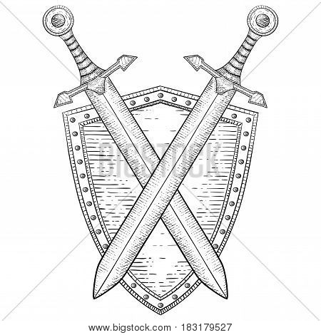Shield with crossed swords. Hand drawn sketch. Vector illustration