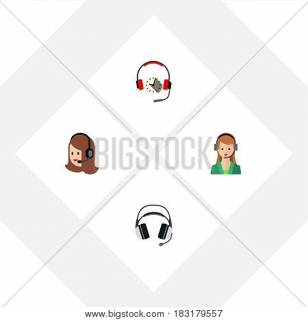 Flat Telemarketing Set Of Headphone, Service, Secretary And Other Vector Objects. Also Includes Headset, Service, Earphone Elements.