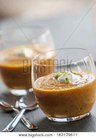 Homemade Autumn Butternut Squash Soup close up