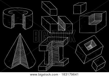Geometric figures. Cube and cone shapes. Hand drawn sketch. Vector illustration on black background