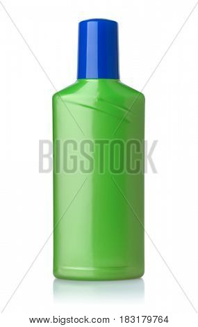 Front view of green plastic bottle isolated on white