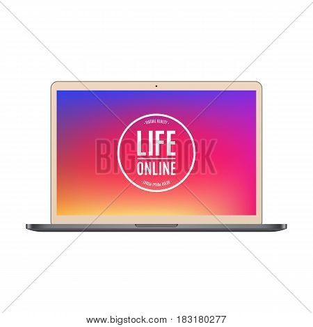 laptop gold color with colored screen isolated on white background. stock vector illustration eps10