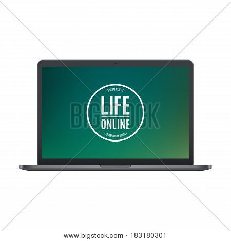 laptop frosted black color with colored screen isolated on white background. stock vector illustration eps10