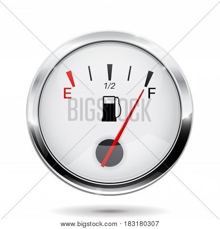 Fuel gauge with chrome frame. Full indication. Vector illlustration isolated on white background