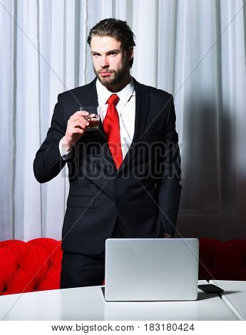 Bearded Man, Businessman With Glass Of Whiskey, Cell Phone, Laptop