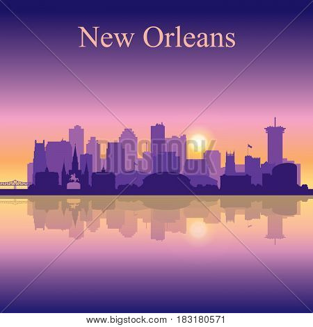 New Orleans Silhouette On Sunset Background