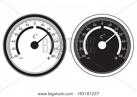 Round thermometer. Black and white icon. Vector illustration